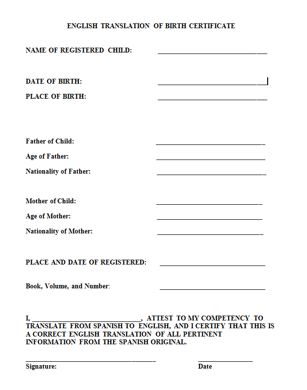 Health Insurance In Spanish Translation Pertaining To Uscis Birth Certificate Translation Template Throughout Uscis Birth Certificate Translation Template