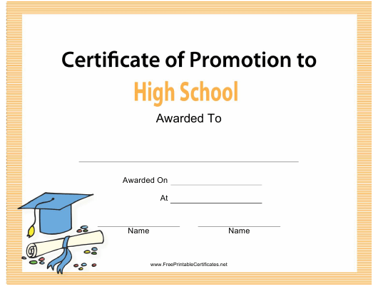 High School Certificate of Promotion Template Download Printable  Regarding Promotion Certificate Template Throughout Promotion Certificate Template