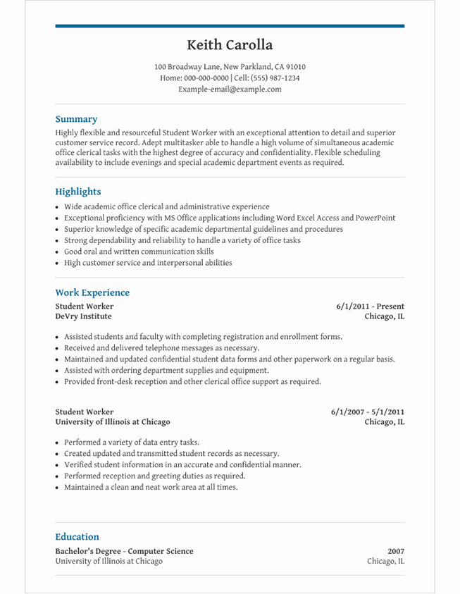 High School Student Resume Template for Microsoft Word  LiveCareer With High Resume Templates What To Look For Throughout High Resume Templates What To Look For
