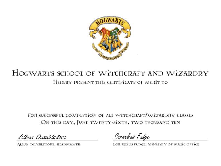 Hogwarts Certificate Intended For Harry Potter Certificate Template Intended For Harry Potter Certificate Template