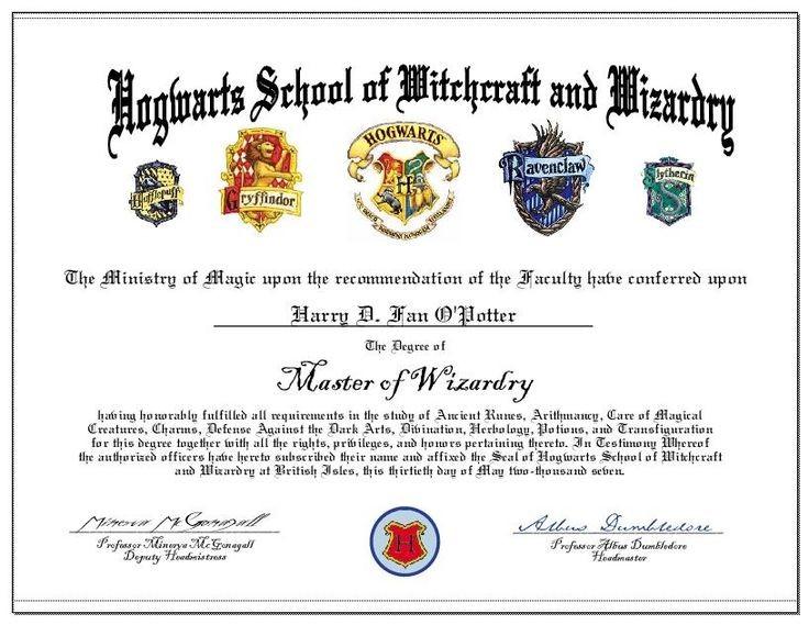Hogwarts Certificate Template 11 Best Harry Potter - carlynstudio For Harry Potter Certificate Template