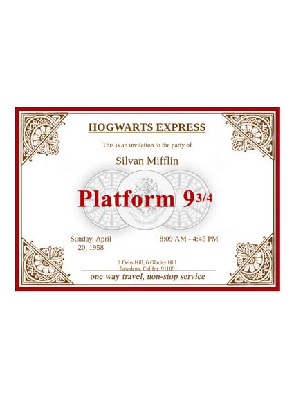 Hogwarts Express Ticket Template - PDF Templates  JotForm Regarding Harry Potter Certificate Template With Harry Potter Certificate Template