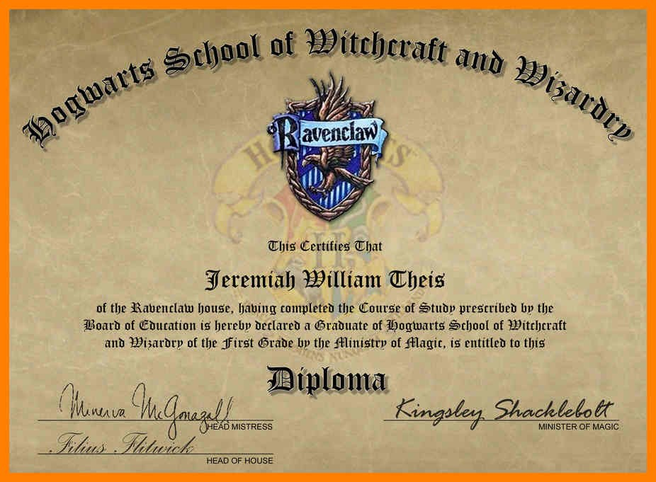 Hogwarts Graduation Diploma Template Harry Potter Fillable Design  Within Harry Potter Certificate Template Pertaining To Harry Potter Certificate Template