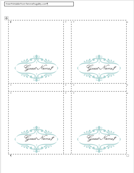 How to Make Your Own Place Cards for Free with Word and PicMonkey  With Regard To Free Printable Tent Card Template For Free Printable Tent Card Template
