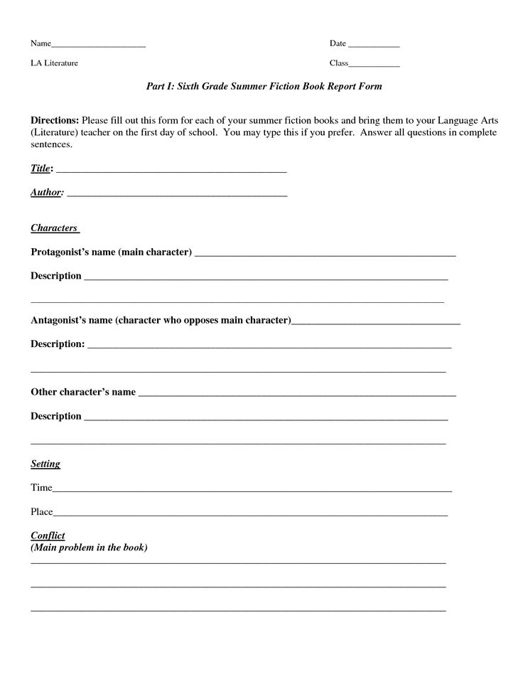 How To Write A Book Report 11th Grade Level With 6th Grade Book Report Template Within 6th Grade Book Report Template