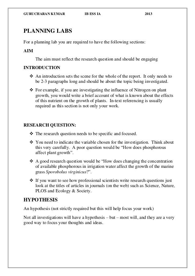 IB ESS -How to write a Good Lab report Inside Ib Lab Report Template Regarding Ib Lab Report Template