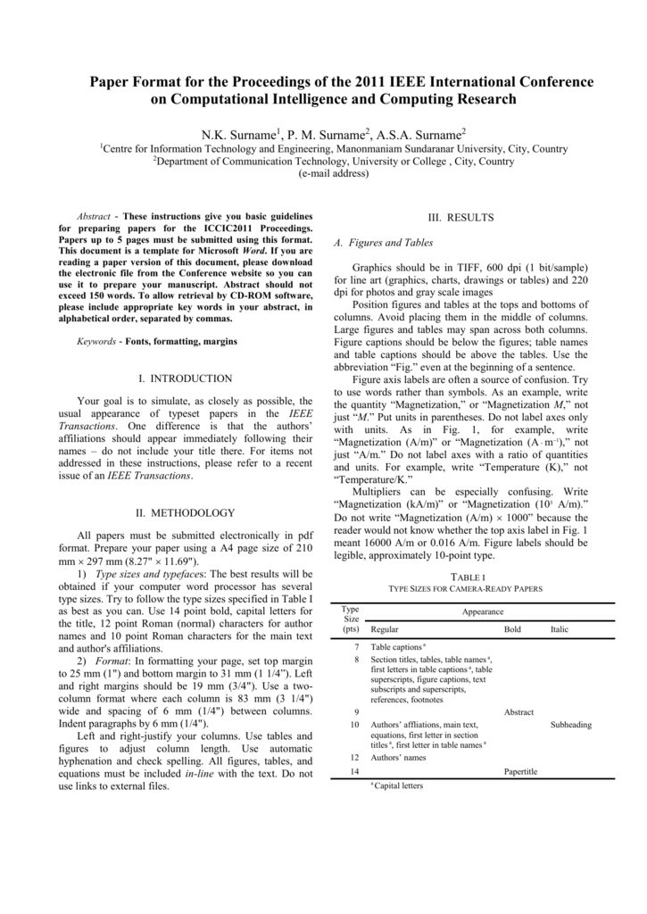 IEEE Paper Template With Template For Ieee Paper Format In Word With Regard To Template For Ieee Paper Format In Word