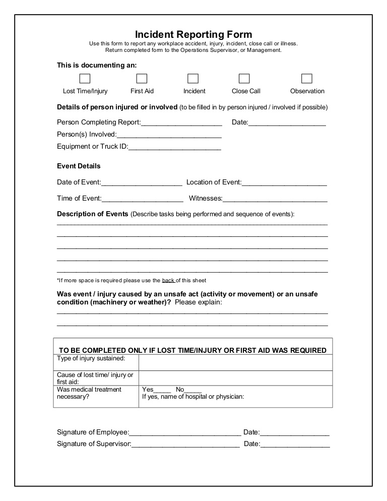 Incident reporting form Intended For First Aid Incident Report Form Template In First Aid Incident Report Form Template