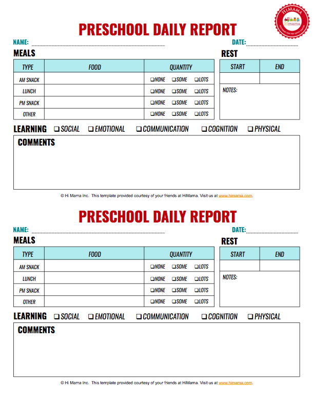 Infant & Toddler Daily Reports - Free Printable  HiMama Pertaining To Preschool Weekly Report Template In Preschool Weekly Report Template