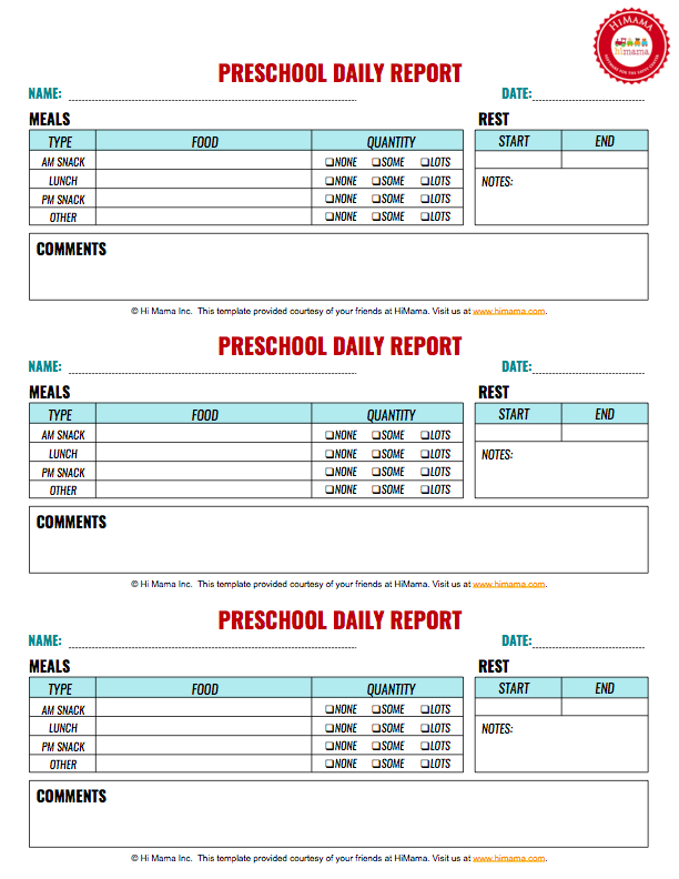 Infant & Toddler Daily Reports - Free Printable  HiMama Pertaining To Preschool Weekly Report Template
