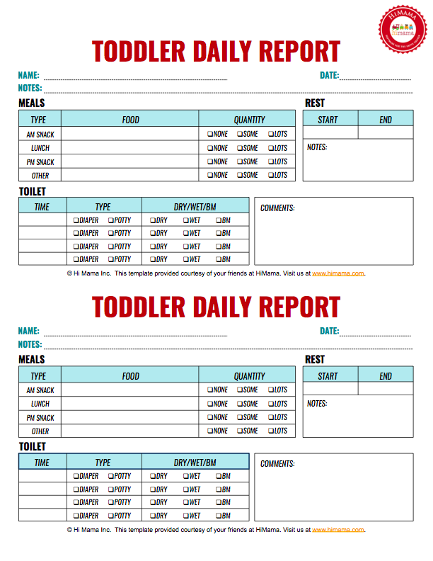 Infant & Toddler Daily Reports - Free Printable  HiMama With Daycare Infant Daily Report Template Intended For Daycare Infant Daily Report Template