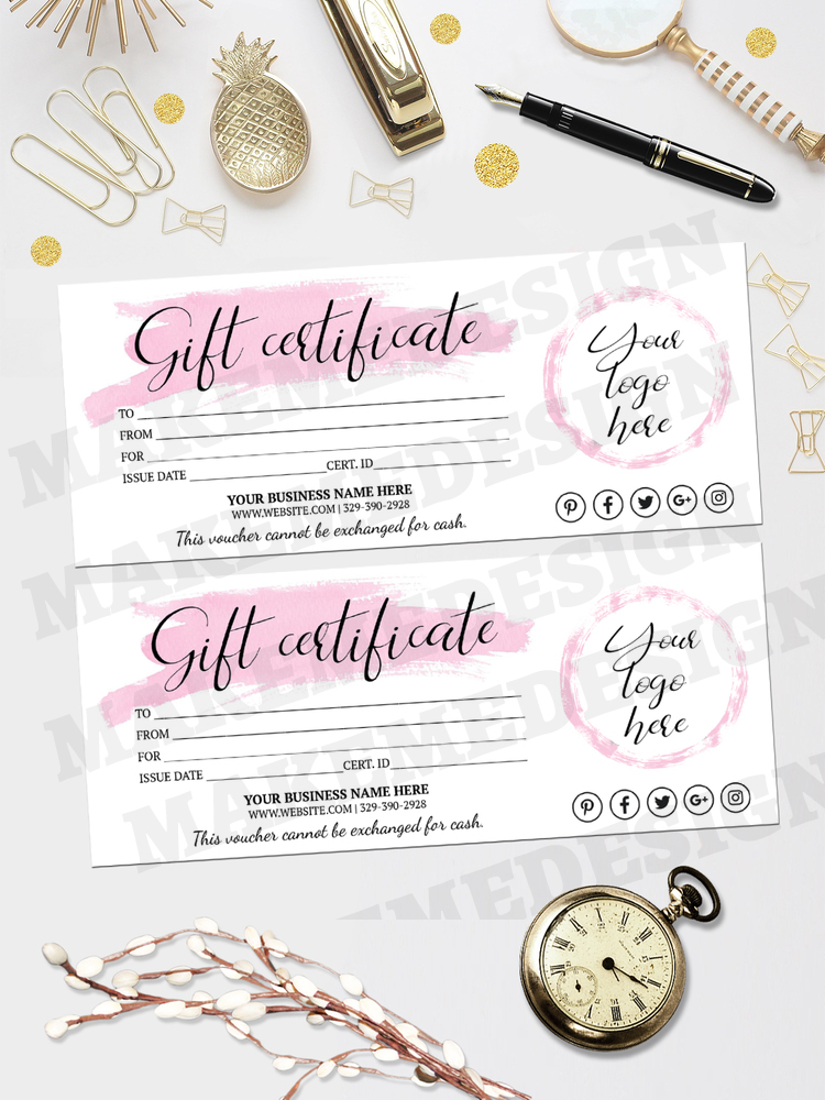 INSTANT DOWNLOAD – Gift Certificate Template Pink With Regard To Pink Gift Certificate Template
