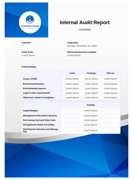 Internal Audit Report Template - PDF Templates  JotForm Pertaining To Internal Control Audit Report Template With Regard To Internal Control Audit Report Template