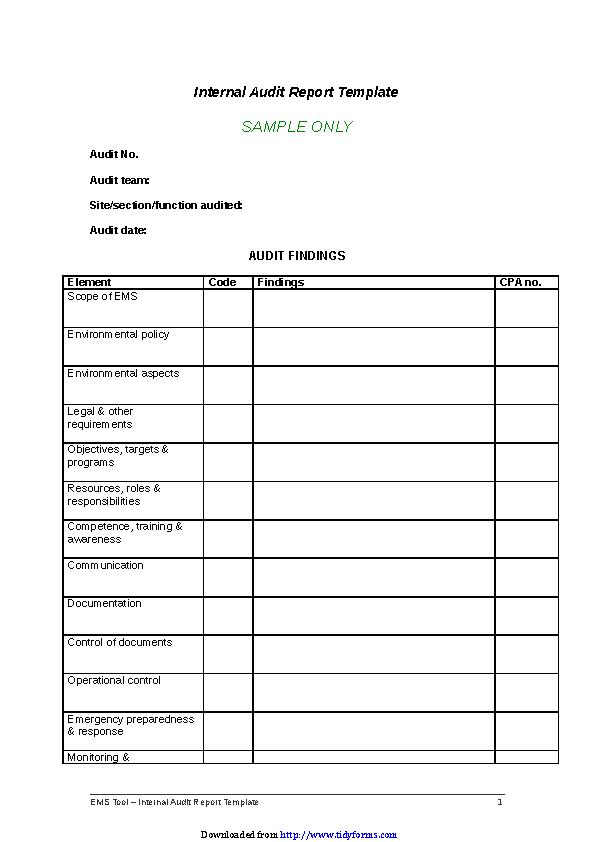 Internal Audit Report Template - PDFSimpli Pertaining To Internal Control Audit Report Template With Regard To Internal Control Audit Report Template