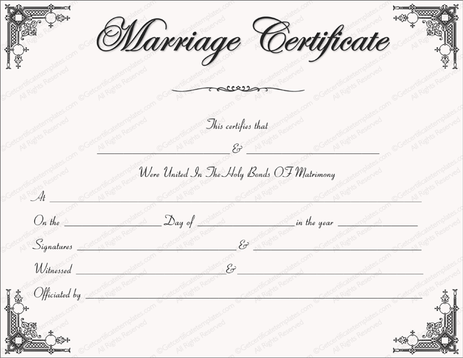 Intimacy Marriage Certificate Template - for Word Regarding Certificate Of Marriage Template Intended For Certificate Of Marriage Template