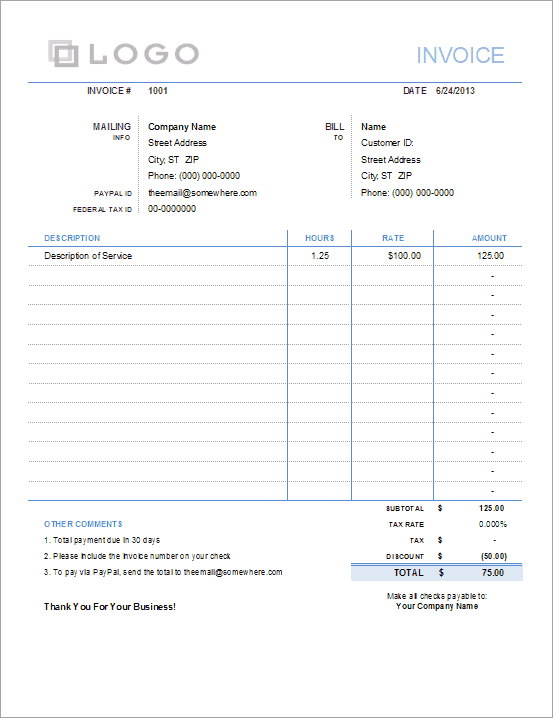Invoice with Hours and Rate - Free Regarding Invoice Template Word 2010 Intended For Invoice Template Word 2010