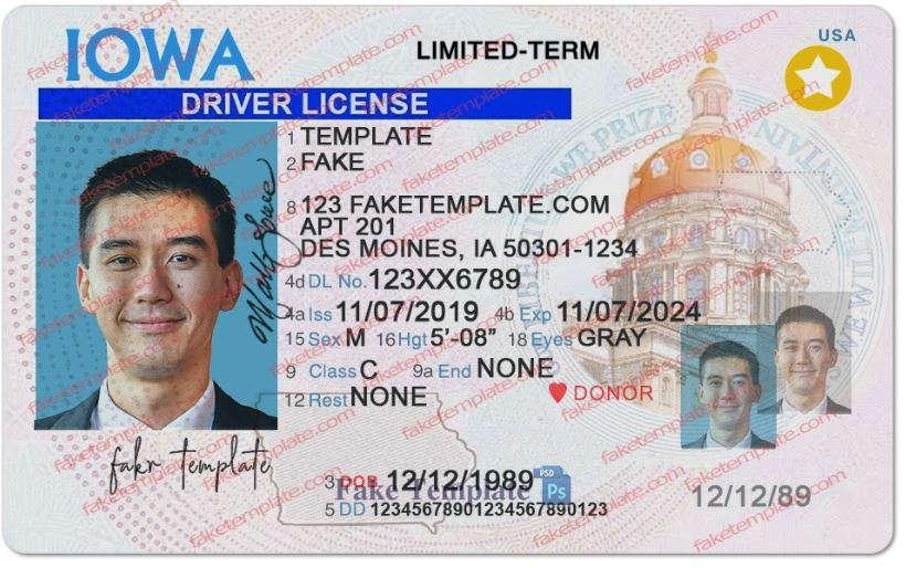 Iowa Drivers License Template - Fake Iowa Drivers License Throughout 89 Blank Drivers License Template For 89 Blank Drivers License Template