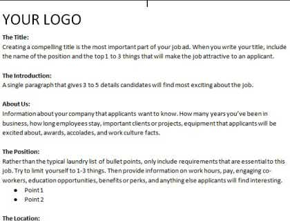 Job Posting Template Inside Internal Job Posting Template Word