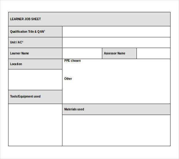 Job Sheet Template  11+ Printable Word, Excel & PDF Formats  With Regard To Job Card Template Mechanic With Regard To Job Card Template Mechanic