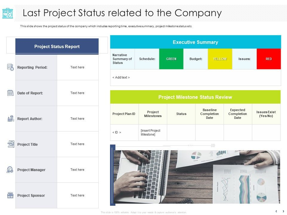 Last Project Status Related To The Company Executive Ppt  Inside Executive Summary Project Status Report Template Regarding Executive Summary Project Status Report Template
