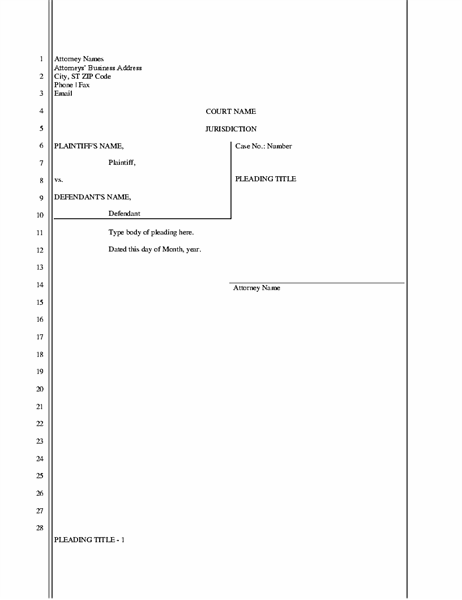 Legal pleading paper (11 lines) With Regard To Blank Legal Document Template With Regard To Blank Legal Document Template
