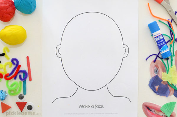 Make a Face Activity - Five Ideas and a Free Printable - Picklebums Intended For Blank Face Template Preschool Inside Blank Face Template Preschool