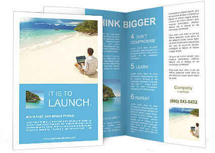 Man with laptop on colorful beach of island Brochure Template With Island Brochure Template Within Island Brochure Template