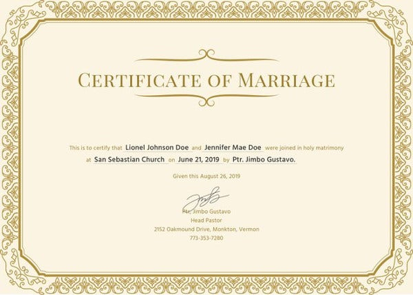Marriage Certificate Template - 11+ Word, PDF, PSD Format Download  In Certificate Of Marriage Template With Regard To Certificate Of Marriage Template