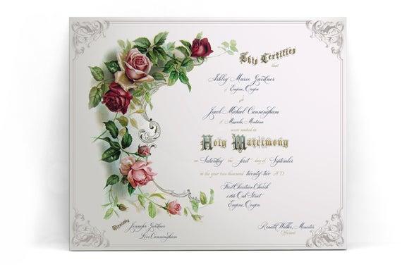 Marriage Certificate Template Printable Editable Custom Wedding Certificate  Personalized Certificate Templett Digital Keepsake Vows 11 With Regard To Certificate Of Marriage Template With Certificate Of Marriage Template