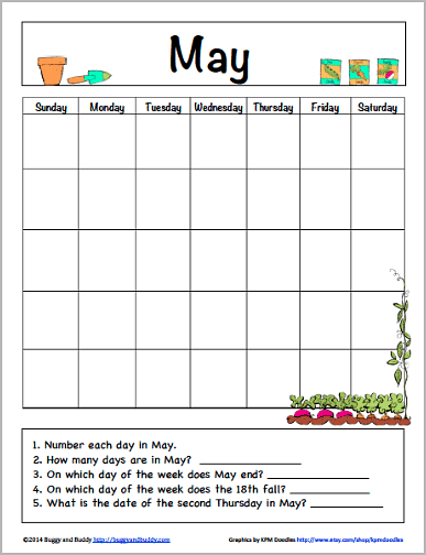 May Calendar for Kids (Free Printable) - Buggy and Buddy Throughout Blank Calendar Template For Kids Pertaining To Blank Calendar Template For Kids