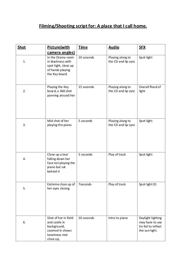 Media shooting script template In Shooting Script Template Word With Regard To Shooting Script Template Word