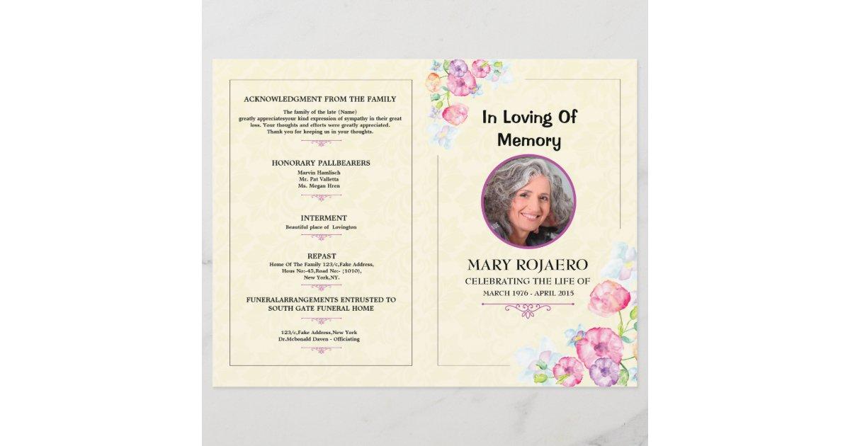 Memorial Funeral Program Template  Zazzle With Regard To Memorial Brochure Template