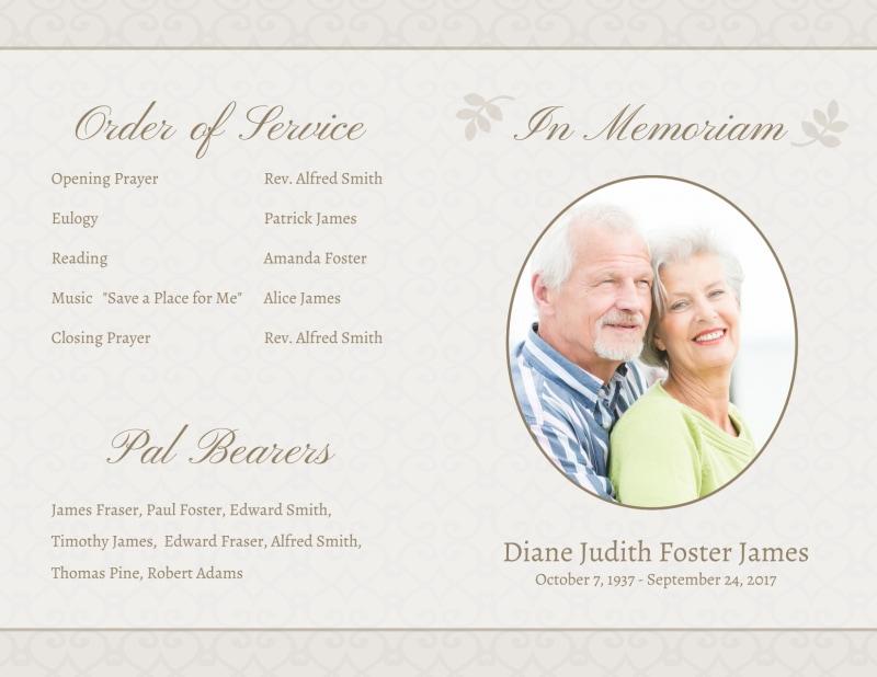 Memorial Service Funeral Program Bi-Fold Brochure Intended For Memorial Brochure Template Intended For Memorial Brochure Template