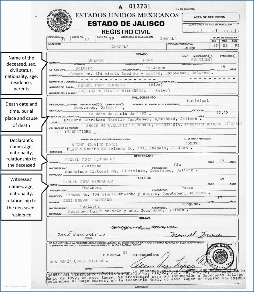 Mexican Death Certificate Sample (Page 11) - Line.111QQ With Regard To Mexican Marriage Certificate Translation Template