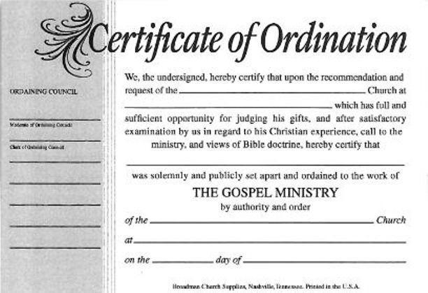 Minister License Certificate Template - carlynstudio Inside Certificate Of Ordination Template