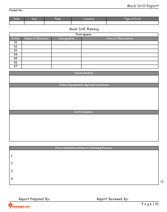 Mock drill report - Intended For Emergency Drill Report Template In Emergency Drill Report Template