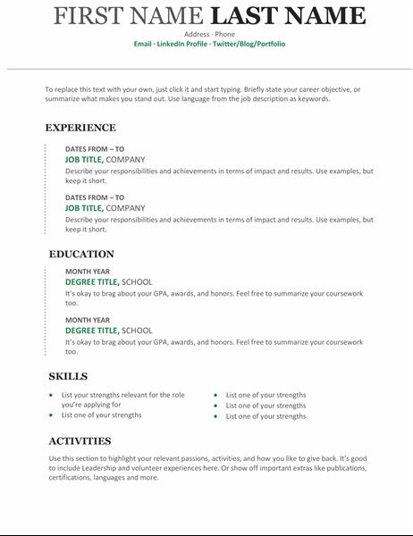 Modern chronological resume For Free Basic Resume Templates Microsoft Word