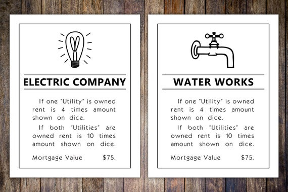 Monopoly Utilities Property Card, 11x11 Art Print // Water & Electric  Artwork // Game room wall art // Family board game print Intended For Monopoly Property Card Template With Monopoly Property Card Template