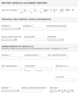MOTOR VEHICLE ACCIDENT REPORT Form Template  JotForm For Car Damage Report Template With Car Damage Report Template