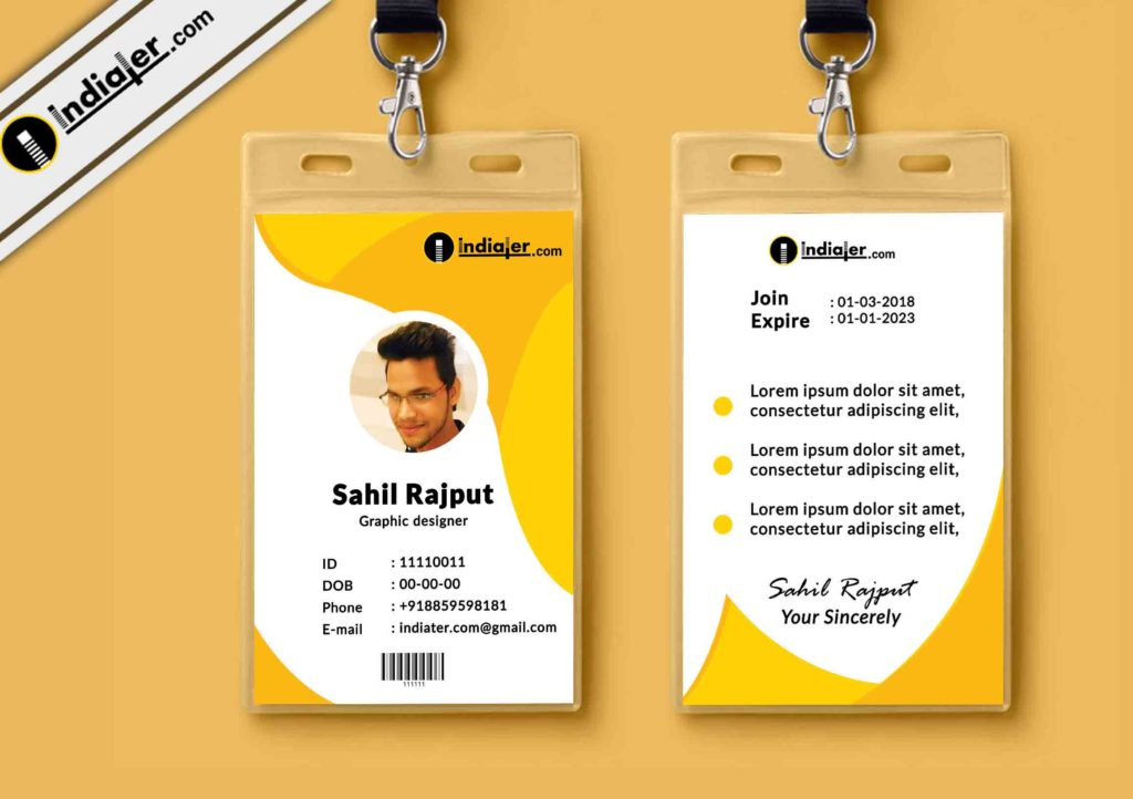 Multipurpose Corporate Office ID Card Free PSD Template - Indiater In Photographer Id Card Template Pertaining To Photographer Id Card Template