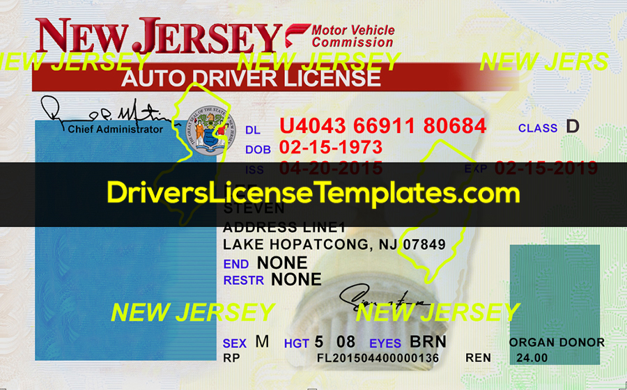 New-Jersey-Drivers-License-Front-New-PSD-template by  Inside Blank Drivers License Template With Regard To Blank Drivers License Template