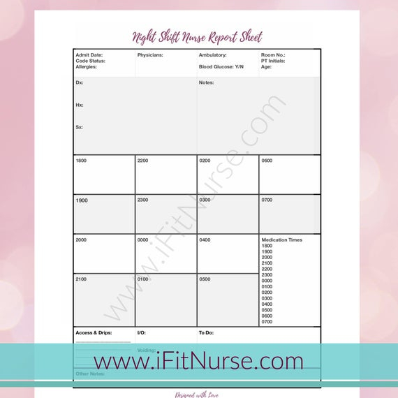 Nurse Report Sheet Night Shift For Nursing Shift Report Template Inside Nursing Shift Report Template