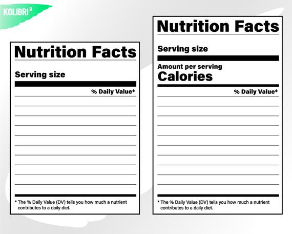 Nutrition facts svg – Nutrition svg – Nutrition facts clipart – Nutritional  svg – Blank template label svg – eps png dxf pdf, svg for cricut For Blank Food Label Template Inside Blank Food Label Template