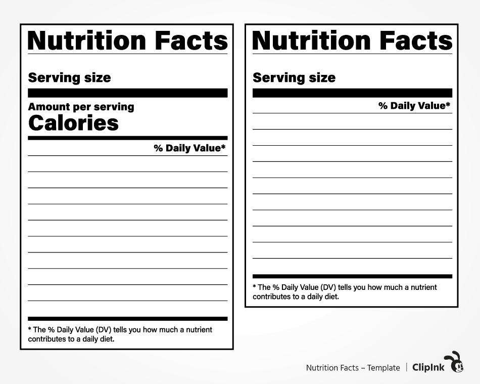 NUTRITION FACTS – TEMPLATE For Blank Food Label Template Inside Blank Food Label Template
