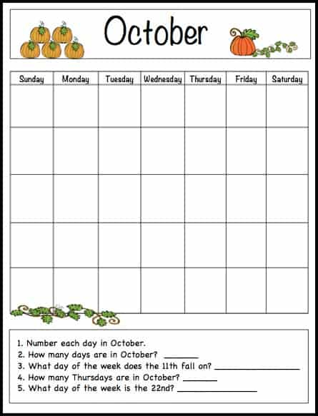 October Learning Calendar Template for Kids (Free Printable  Pertaining To Blank Calendar Template For Kids In Blank Calendar Template For Kids