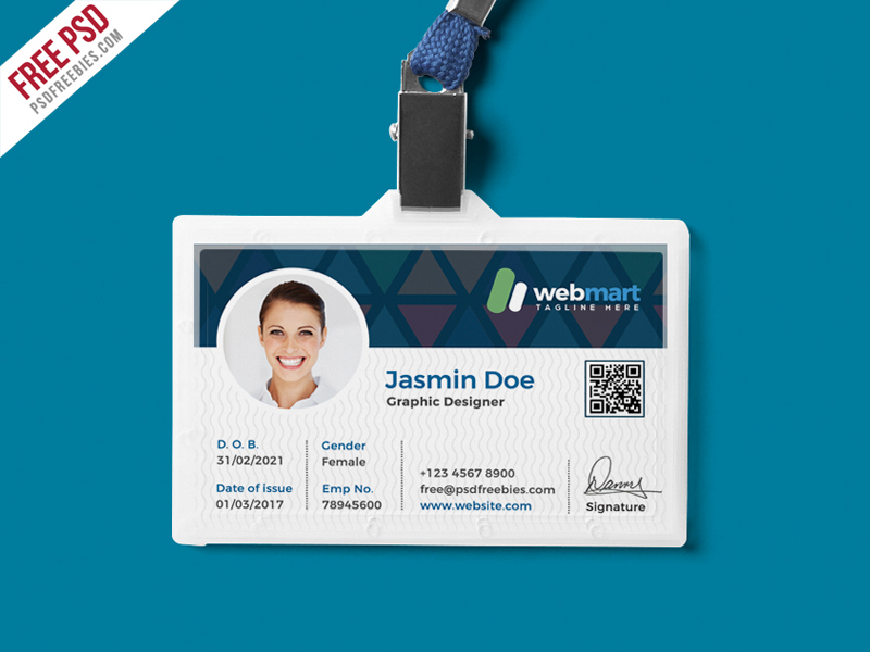 Office ID Card Design PSD  PSDFreebies Pertaining To Pvc Id Card Template