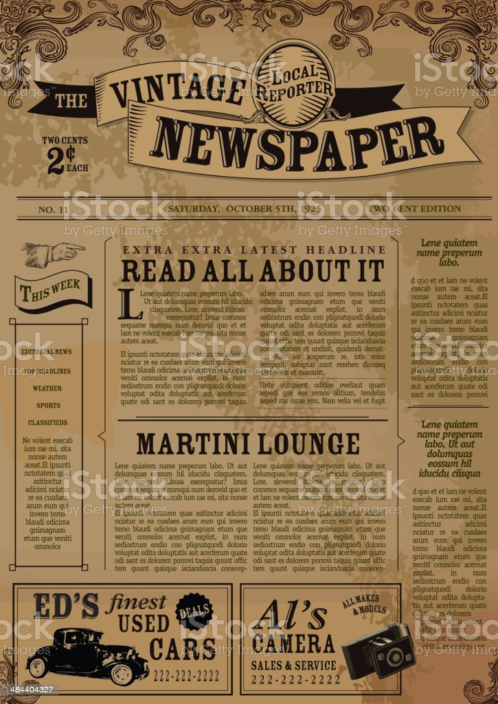 Old Newspaper Template Free Vector Art - (11 Free Downloads) Pertaining To Blank Old Newspaper Template Regarding Blank Old Newspaper Template