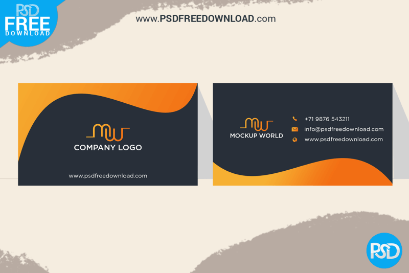 Orange Business Card Mockup Design  PSD Free Download With Visiting Card Templates Psd Free Download