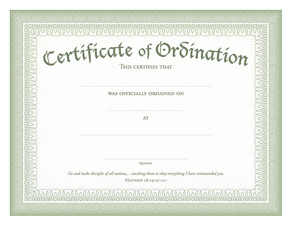 Ordination Certificate Green Foil Embossed, Package of 11 Pertaining To Certificate Of Ordination Template Pertaining To Certificate Of Ordination Template