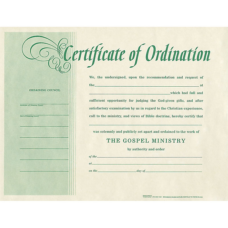 Ordination for Minister - Parchment For Certificate Of Ordination Template Within Certificate Of Ordination Template
